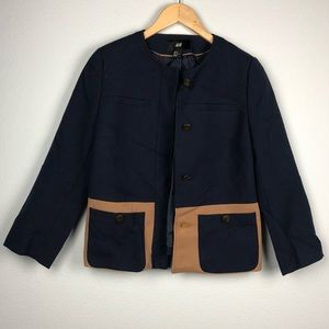 H&M navy blue and brown colorblock blazer